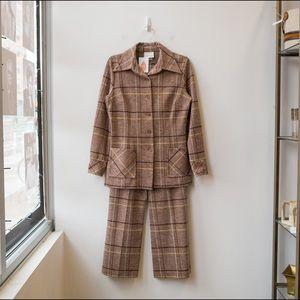 1970's Plaid 2 pc Pant Suit